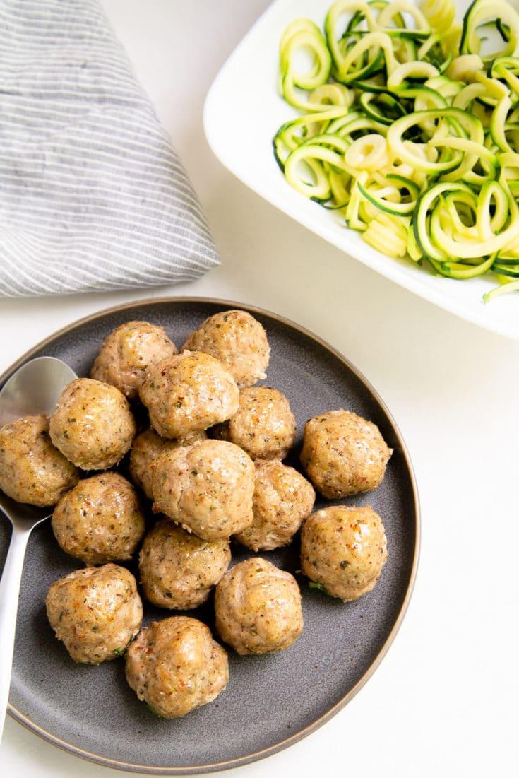 Paleo Pesto Turkey Meatballs