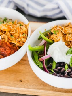 Instant pot burrito bowls on table