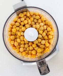 View from above. Chickpeas in food processor.