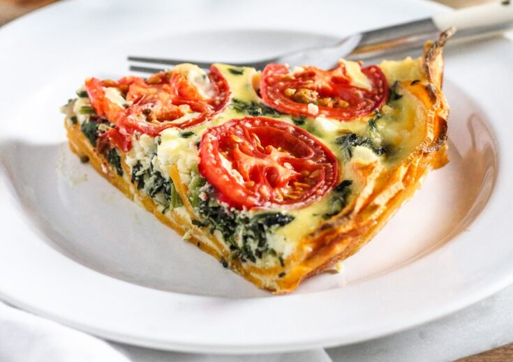 Spinach And Feta Quiche With Sweet Potato Crust Shaped By Charlotte