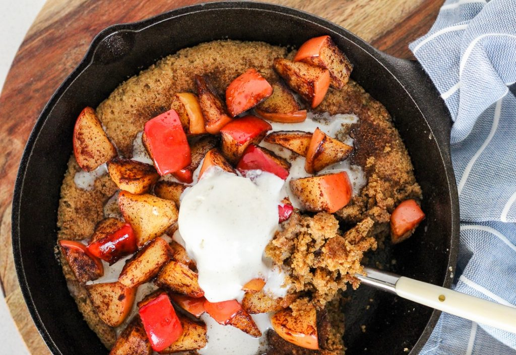 Paleo Snickerdoodle Cookie Skillet with Cinnamon Apple Topping