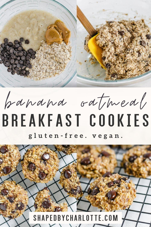 banana oatmeal breakfast cookies pinterest image