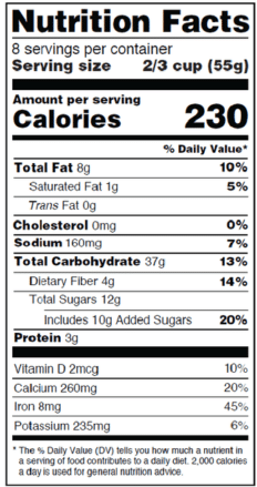 Side by side comparison of the old and new nutrition facts labels.