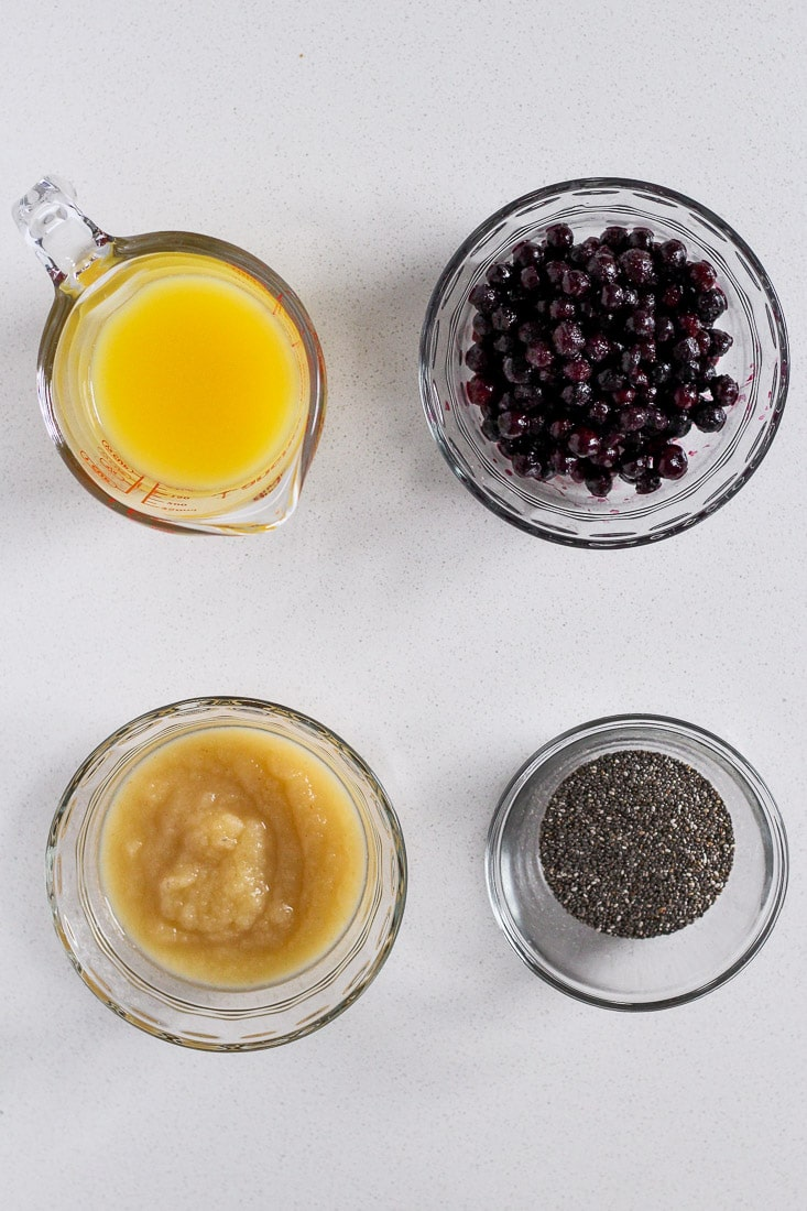 Ingredients to make blueberry chia jam.