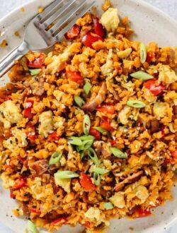 Breakfast sweet potato fried rice