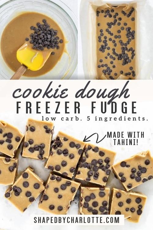 Healthy cookie dough freezer fudge pinterest pin.