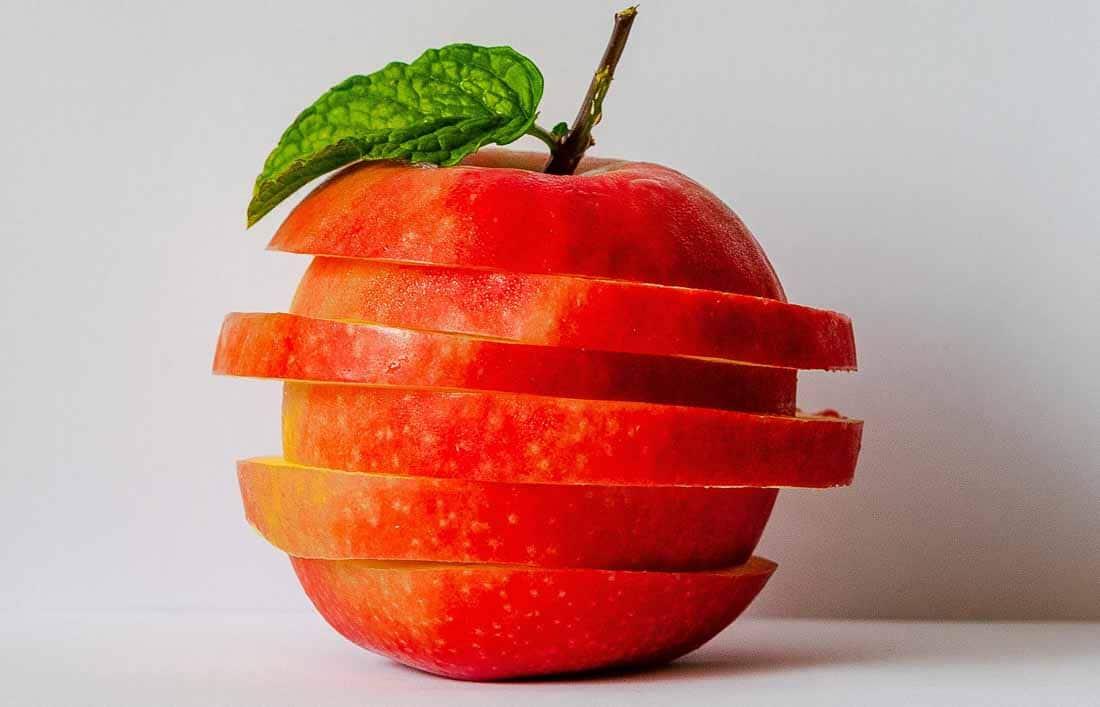 Red apple sliced horizontally