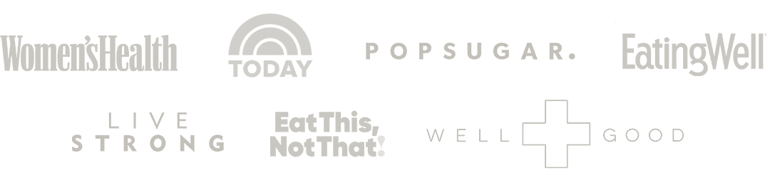 Women's Health, Today, PopSugar, EatingWell, Livestrong, Eat This Not That, Well+Good Logos